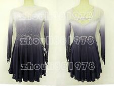 New Girls women Ice Figure Skating Dress For Competition grey dyeing