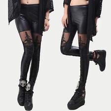 Women Ladies Sexy Faux Leather Gothic Punk Leggings Pants Lace Skinny Pants