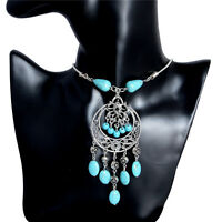 Thai Silver Hollow Carving Turquoise Pendant Statement Necklace Jewelry Gift