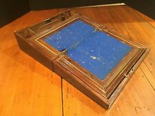 Antique Wooden Lap Desk with Blue Cloth Writing Surface