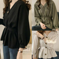 Fashion Women's Solid Shirt Waist Collection Long Sleeve V-Neck Formal Blouse