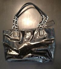 (PREOWNED) COACH POPPY 17924 BLACK LEATHER CARRYALL POCKET TOTE BAG PURSE