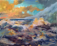 Sunset Wave Seascape Ocean Oil Painting Impressionist Art Original Signed