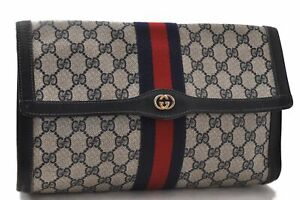 Authentic GUCCI Sherry Line Clutch Bag GG PVC Leather Navy Blue C4724