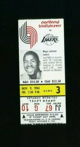 1984-85 Los Angeles Lakers @ Portland Trailblazers Magic Johnson Photo Ticket