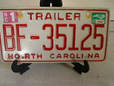NORTH CAROLINA N C TRAILER LICENSE PLATE BF-35125  ESTATE FIND