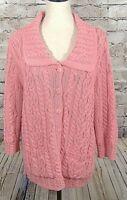 ARAN CRAFTS Womens Sweater M Fisherman Merino Wool Chunky Salmon  (w-593)