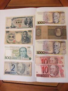 Lot de 9 Billets du Monde anciens - JAPON + BRESIL - ayant circulé