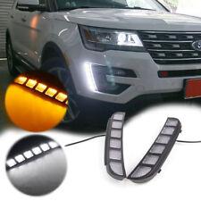 2pcs LED DRL Front Bumper Signal Lights Switchback Kit fit 2016-up Ford Explorer