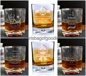 PERSONALISED Engraved WHISKY RUM GLASS for HER HIM Mothers Fathers Day Gifts