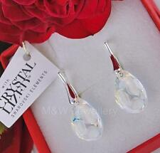 925 STERLING SILVER EARRINGS WITH SWAROVSKI ELEMENTS RADIOLARIAN CRYSTAL AB