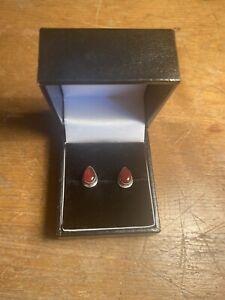Carnelian Orange 925 Sterling Silver Stud Earrings Natural Crystal Gemstone
