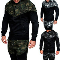 Men Camo Army Zipper Hoodie Winter Hooded Sweatshirt Jacket Coat Tops Outwear US