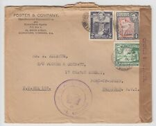 1940 - WW2 British Guiana Commercial Censor Opened Cover to Trinidad 7d KGVI