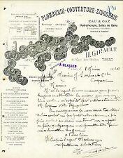 Dépt 37 - TOURS - Plomberie Couverture Zinguerie - H. Girault - du 02/06/1920