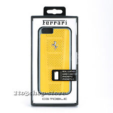 Ferrari iPhone 6 iPhone 6s Case Yellow Perforated Leather Hard Shell Snap Cover