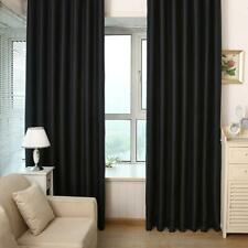 Solid Black Blackout Curtains Window Door Curtain for Living Room Bedroom H1