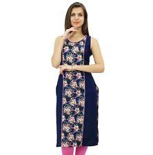 Bimba Womens Rayon Tunic Sleeveless Floral Kurti Indian Ethnic Navy Blouse