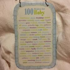 100 WISHES FOR BABY BOY GIFT PLAQUE CERAMIC BLUE WALL HANGING