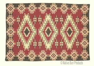 2x3' Southwestern Design Throw Rug w/Non-skid Backing Woven Red River 13572
