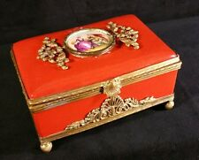 "Antique Limoges Jewelry Box Handpainted Porcelain Bronze Casings 6.25""x4"" VFINE"