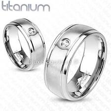 Solid Titanium Satin Brushed Simulated Diamond Wedding Ring Band Size 5-13