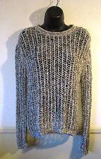 Women's INHABIT Gray Cotton Blend Fishnet Mesh Sweater  Size P