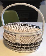 VINTAGE RETRO 60s Wicker Basket Bag / Makeup /interior Mirror Boho Chic VGC