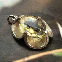 Vintage EXQUISITE Silver Tone Pendant Smoky Gold Blue Topaz Tone Glass MCM Deco