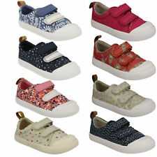 GIRLS CLARKS HALCY HATI TODDLER HOOK & LOOP CANVAS CASUAL SUMMER SHOES SIZE