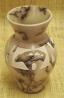 Native American Hand Made Horsehair Pottery by Hilda Whitegoat Small Bear Vase