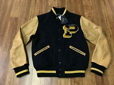MENS SMALL - Polo Ralph Lauren P Patch Varsity Letterman Wool Leather Jacket