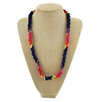 Vtg Colorful Rainbow Natural Wood Bead Twisted Multi Strand Necklace Boho Earthy
