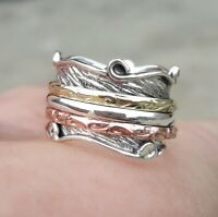 Solid 925 Sterling Silver Spinner Ring Meditation Ring Statement Ring Size M488