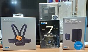 SD NEW 128GB GoPro HERO7 Black Camera Bundle: Chest Mount, Dual Battery Charger