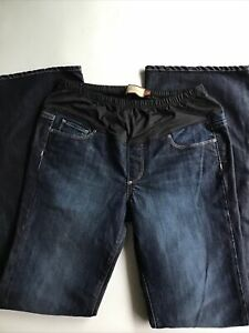 PAIGE Maternity Jeans Sz 31 Dark Blue Laurel Canyon Bootcut Low Rise NICE