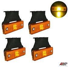 4 Pcs Orange Amber 4 Led 12v Side Marker Lights Indicator Truck Lorry Trailer