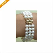 "3 rows 7.5-8"" 8-9MM AAA+ SOUTH SEA GENUINE WHITE PEARL BRACELET 14k Yellow Gold"