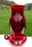 "FENTON RUBY RED HURRICANE FINGER LOOP CANDLE LAMP 9.5""H MINT"