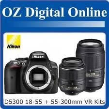 New NIKON D5300 18-55 II+55-300mm VR Twin Kits Full HD 24MP DSLR 1 Year Au Wty