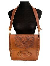 Tooled Leather Purse 60s Vintage Bohemian Shoulder Bag Hippie Satchel Tote Bag