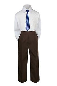 3pc New Born Baby Boy Teen Formal Dress Brown Pants and Shirt Necktie Sm-7