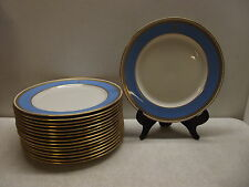 "16 LENOX CHINA BLUE & GOLD RSC MONOGRAMMED 8 1/4"" CABINET PLATE LOT #J53A"