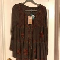 Sacred Threads Womens Tunic Top Brown Floral Side Slit Embroidered Button S New