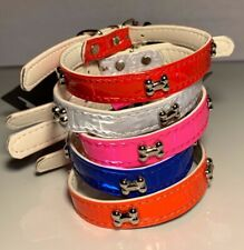 DOG BONES Studs Faux Leather Collar Puppy Cat Small XS S M Adjustable