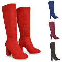Womens Mid Calf Boots Ladies Block High Heel Faux Suede Autumn Winter Size 3-8