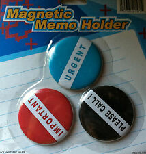 3x SET OF 3 MAGNETIC MEMO HOLDER SAYS IMPORTANT , URGENT , PLEASE CALL NEW