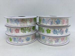 """6 Rolls Baby Multicolor Decorative Ribbon 5/8"""" x 9' Per Roll"""
