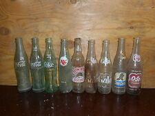 Lot of 9 Soda Pop Bottles Coke RC Gala O-so Suncrest Sunrise Vintage AS IS