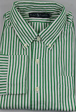 Polo Ralph Lauren Button Front Shirt Mens Large Cotton Green Stripe